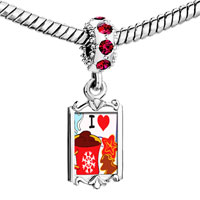 Charms Beads - red crystal dangle i love cfee cookies Image.