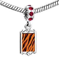 Charms Beads - red crystal dangle tiger skin Image.