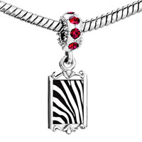 Charms Beads - red crystal dangle zebra skin Image.