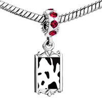 Charms Beads - red crystal dangle cow skin Image.