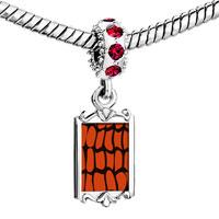 Charms Beads - red crystal dangle crocodile skin Image.