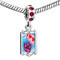 Charms Beads - red crystal dangle flying hearts chocolate Image.