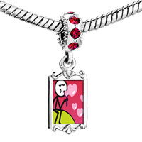 Charms Beads - red crystal dangle bubbles hearts Image.