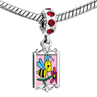 Charms Beads - red crystal dangle spring bee flower Image.