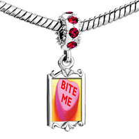 Charms Beads - red crystal dangle heart bite me Image.