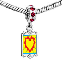 Charms Beads - red crystal dangle heart shape sunflower Image.