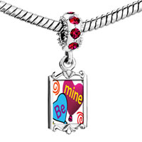 Charms Beads - red crystal dangle be mine heart balloons Image.