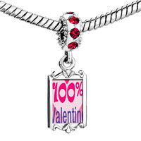 Charms Beads - red crystal dangle %  heart valentine Image.