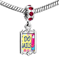 Charms Beads - red crystal dangle i do nails Image.