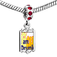 Charms Beads - red crystal dangle i am drunk Image.