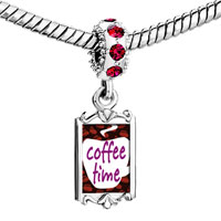 Charms Beads - red crystal dangle cfee time Image.