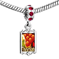 Charms Beads - red crystal dangle chocolate love Image.