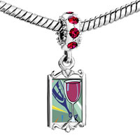 Charms Beads - red crystal dangle champagne drink celebration Image.