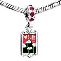 Charms Beads - red crystal dangle i heart sushi rolls Image.