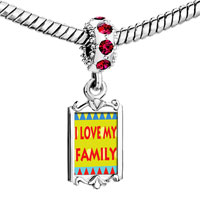 Charms Beads - red crystal dangle i love my family Image.