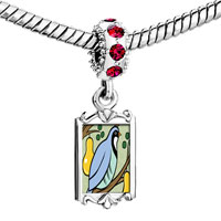 Charms Beads - red crystal dangle partridge in a pear tree storybook Image.