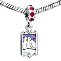 Charms Beads - red crystal dangle two turtle doves storybook Image.