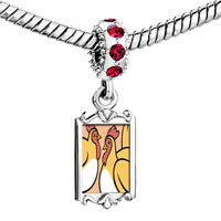 Charms Beads - red crystal dangle three french hens storybook Image.