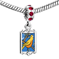 Charms Beads - red crystal dangle four calling birds storybook Image.