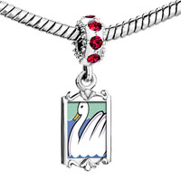 Charms Beads - red crystal dangle seven swans swimming storybook Image.