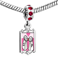 Charms Beads - red crystal dangle salt pepper love Image.