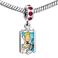 Charms Beads - red crystal dangle baby cupid angel Image.