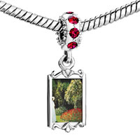 Charms Beads - red crystal dangle lady in a garden painting Image.