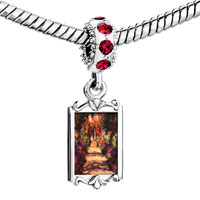 Charms Beads - red crystal dangle monet' s garden painting Image.