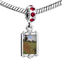 Charms Beads - red crystal dangle path in the wheat at pourville painting Image.