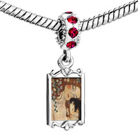 Charms Beads - red crystal dangle mom baby painting Image.