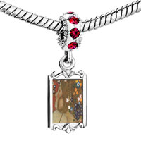 Charms Beads - red crystal dangle water serpents paintings Image.