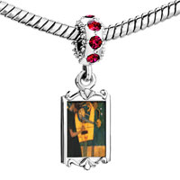 Charms Beads - red crystal dangle musique painting Image.
