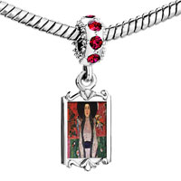 Charms Beads - red crystal dangle portrait adele bloch bauer Image.