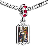 Charms Beads - red crystal dangle woman book painting Image.
