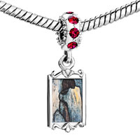 Charms Beads - red crystal dangle blue nude painting Image.