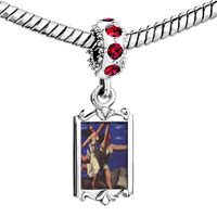 Charms Beads - red crystal dangle woman running on the beach painting Image.