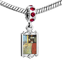 Charms Beads - red crystal dangle still life moving fast painting Image.