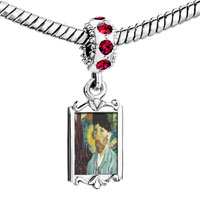 Charms Beads - red crystal dangle caroline hero painting Image.