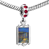 Charms Beads - red crystal dangle starry night over rhone painting Image.