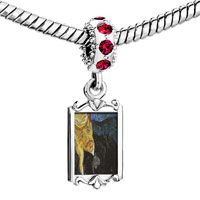Charms Beads - red crystal dangle portrait dr.  gachet painting Image.