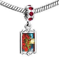Charms Beads - red crystal dangle poppies painting Image.