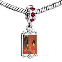 Charms Beads - red crystal dangle ladies playing sixes painting Image.