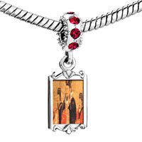 Charms Beads - red crystal dangle emperor da eastern wu painting Image.