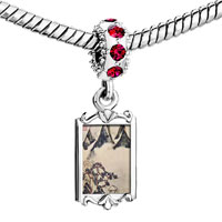 Charms Beads - red crystal dangle mountains pines in spring painting Image.