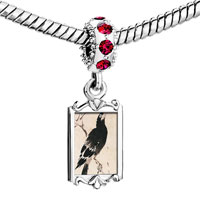 Charms Beads - red crystal dangle bird painting Image.