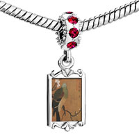 Charms Beads - red crystal dangle ancient painting bird Image.