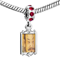 Charms Beads - red crystal dangle su shi song dynasty painting Image.