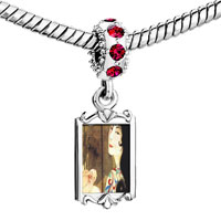Charms Beads - red crystal dangle woman in screen painting Image.
