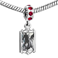 Charms Beads - ruby red swarovski crystal dangle galloping equestrian horse painting silver plated fit all brands charms bracelets Image.