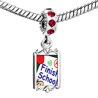 Charms Beads - red crystal dangle finish school Image.